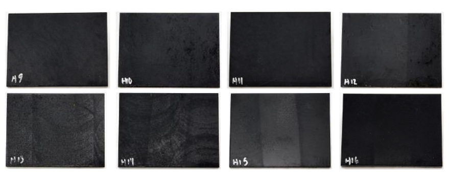Fluxtrol | ASM HTS 2019 Improving Corrosion Resistance of Soft Magnetic Composites for Induction Heat Treating Applications Figure 3 - Corrosion Testing results on Four SMCs after Coating B material and after 168 hours of humidity testing.