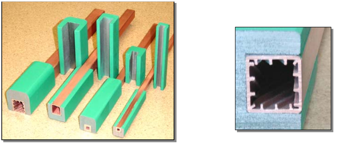 Fluxtrol - Composite Materials for Magnetic Field Control in EPM - Figure 4 Copper tubes with LRM concentrators (left) and special copper profile with increased heat transfer (right)