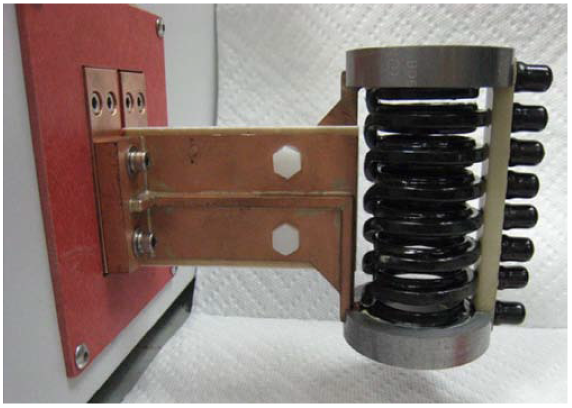 Fluxtrol | Design of Induction Coil For Generating Magnetic Field For Cancer Hyperthermia Research - Figure 1: Improved solenoidal coil for testing solenoidal coil with a field probe inside