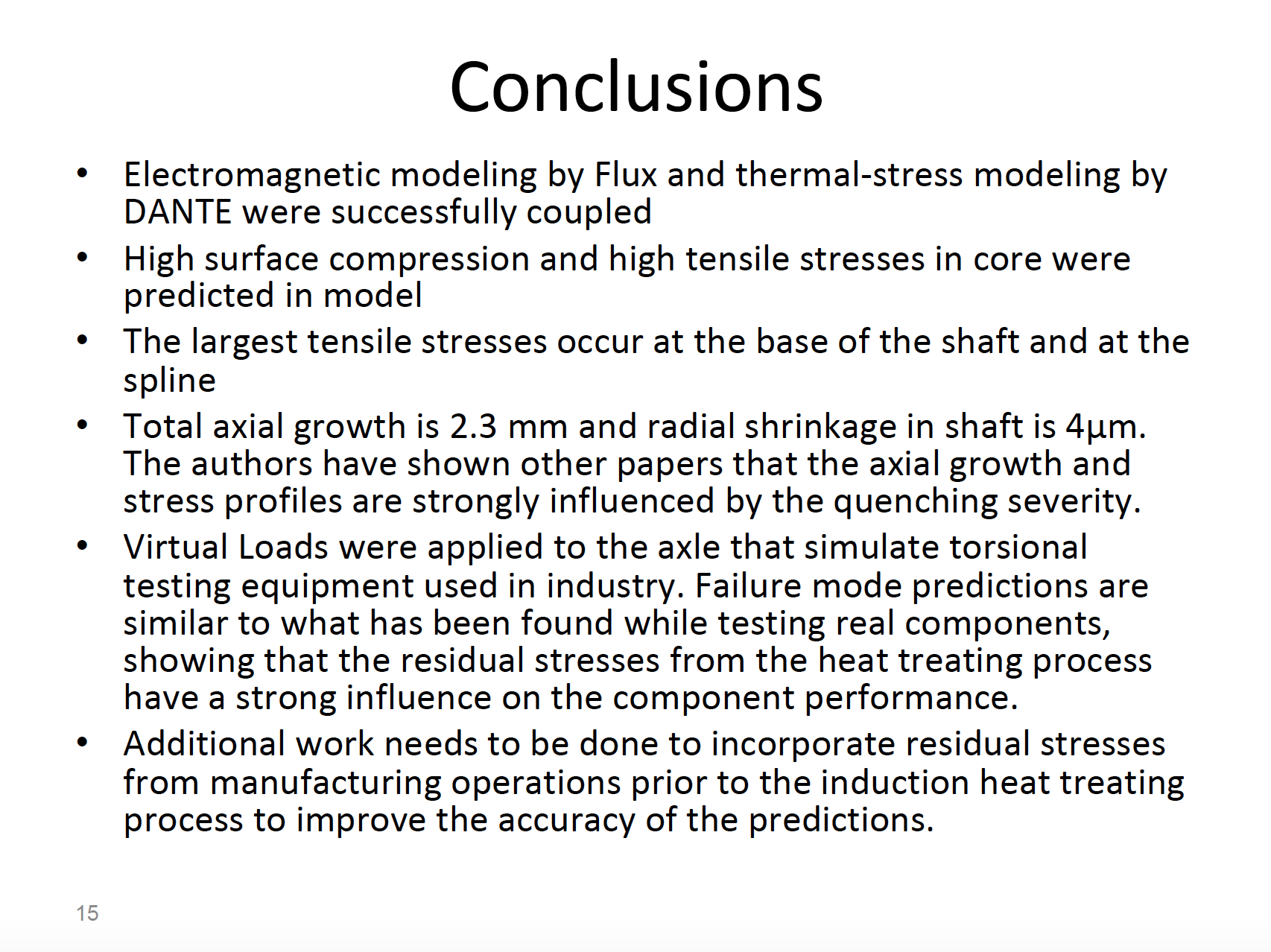 Fluxtrol | Integrated Computational Development of Induction Heat Treatment Process for Automotive Axle Shafts Figure 14 - Conclusions