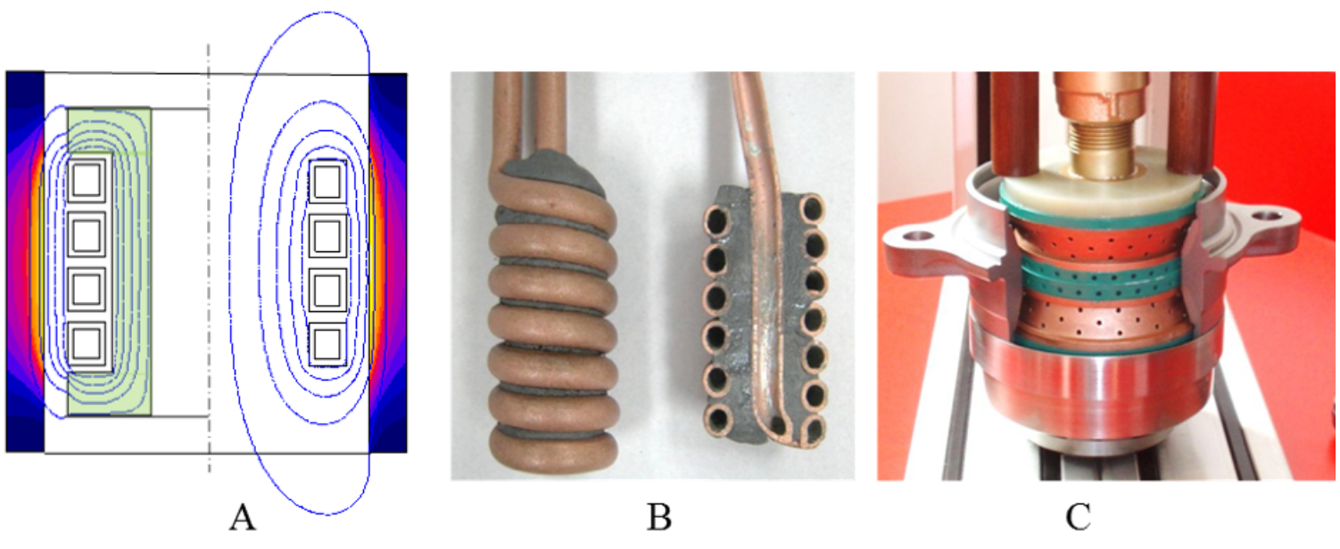 Fluxtrol - Magnetic Flux Control in Induction Installations - Figure 5 A - Magnetic lines and temperature distribution in a tube heated by 4-turn inductor; B – Photo of ID coil with core from moldable Alphaform material; C – Single-turn MIQ inductor with SMC core (blue) for ID hardening of hub (courtesy of Eldec Induction)