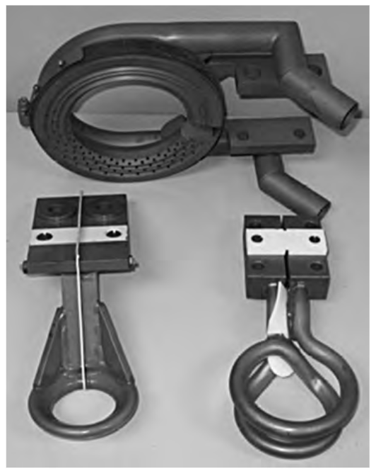 Fluxtrol | Magnetic Flux Controllers in Induction Heating and Melting - Fig. 26 Induction scan-hardening coils made of formed tubing. Source: Ref 4