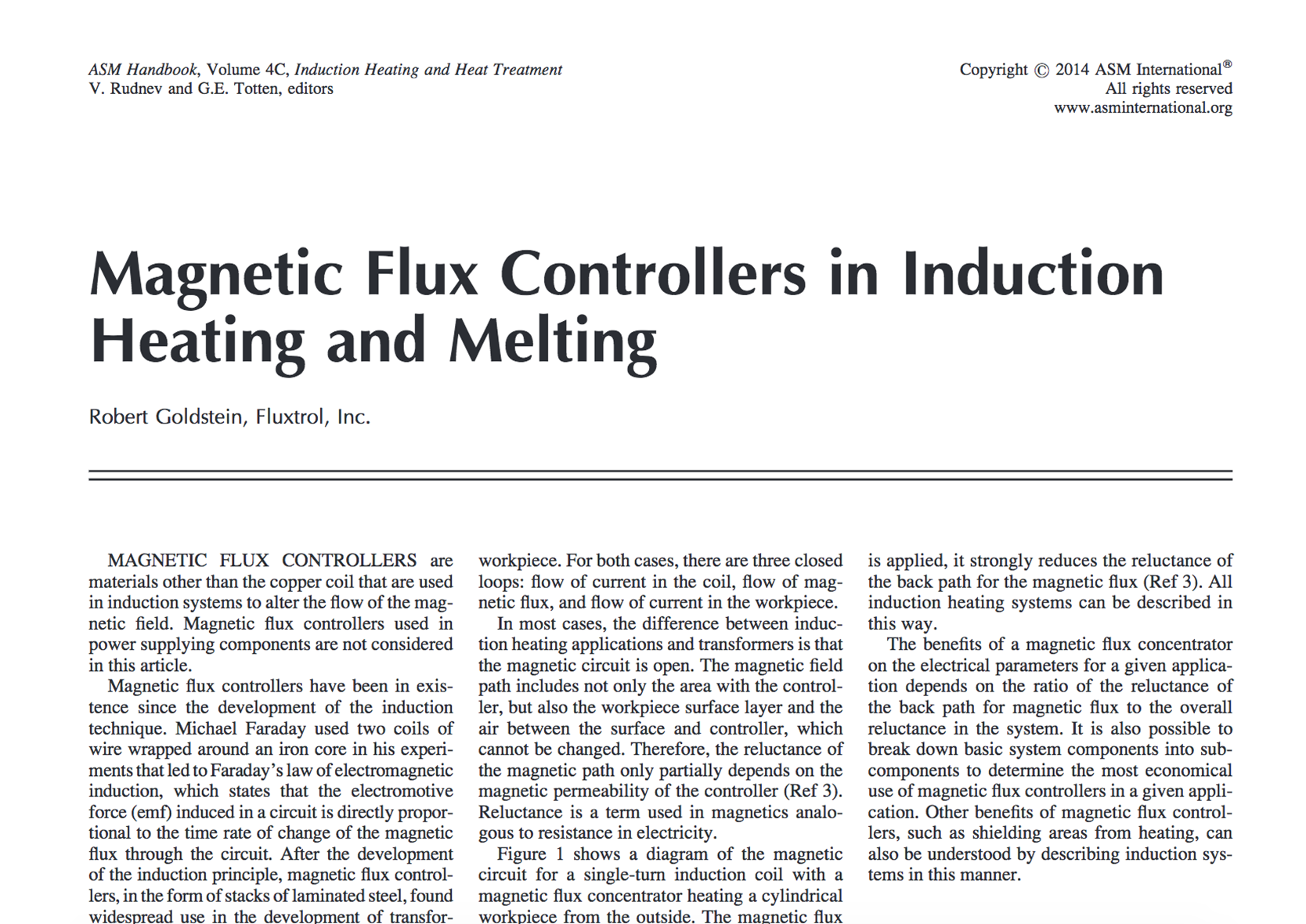 Fluxtrol ASM 2014 Magnetic flux Controllers in Induction Heating and Melting