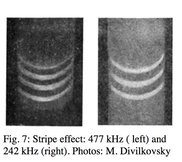 Fluxtrol | How Accurate is Computer Simulation of Induction Systems - Figure 7: Stripe effect: 477 kHz (left) and 242 kHz (right). Photos: M. Divilkovsky