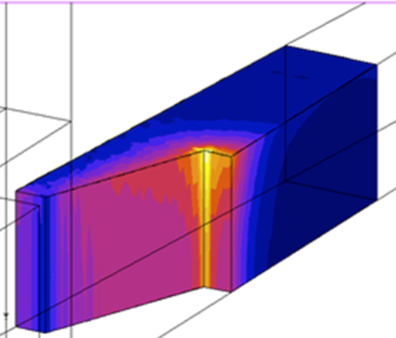 3D simulation of gear hardening. Flux 3D program